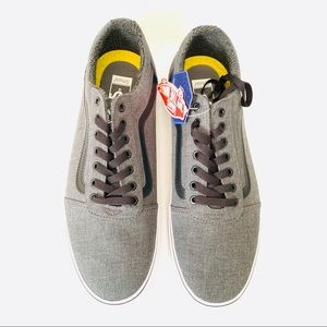 VANS Men's Grey Canvas Laced Sneakers